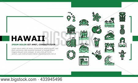 Hawaii Island Vacation Resort Landing Web Page Header Banner Template Vector. Hawaiian Girl Dancing