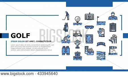 Golf Sportive Game On Playground Landing Web Page Header Banner Template Vector. Ball And Clubs In B