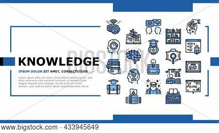Knowledge And Mind Intelligence Landing Web Page Header Banner Template Vector. World Knowledge And