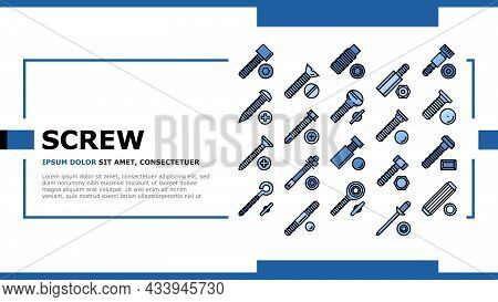 Screw And Bolt Building Accessory Landing Web Page Header Banner Template Vector. Socket Head And Sh
