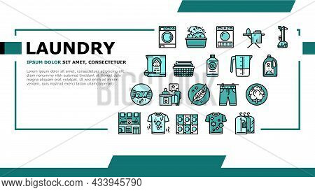 Laundry Service Washing Clothes Landing Web Page Header Banner Template Vector. Laundry And Drying M