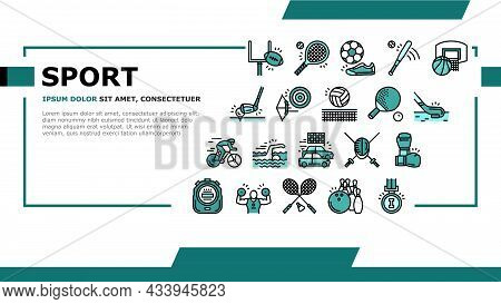 Sport Active Competitive Game Landing Web Page Header Banner Template Vector. Basketball And Volleyb