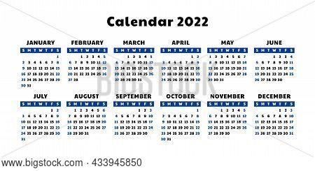 Calendar 2022 Year. English Vector Calender Template. Week Starts On Sunday