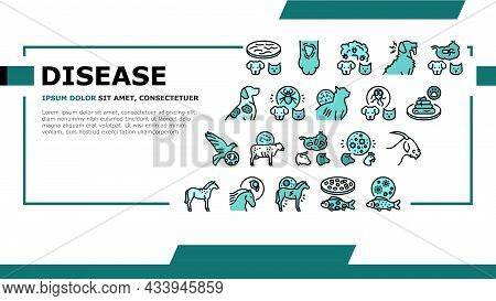 Pet Disease Ill Health Problem Landing Web Page Header Banner Template Vector. Salmonellosis And Tap