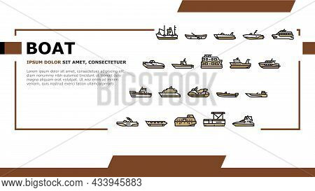 Boat Water Transportation Types Landing Web Page Header Banner Template Vector. Runabout And Catamar