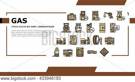 Gas Station Refueling Equipment Landing Web Page Header Banner Template Vector. Diesel And Gasoline,
