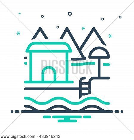 Mix Icon For Resort Spot Holiday-destination Holiday Hotel Beach-house House