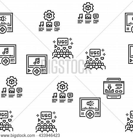 User Generated Content Vector Seamless Pattern Thin Line Illustration
