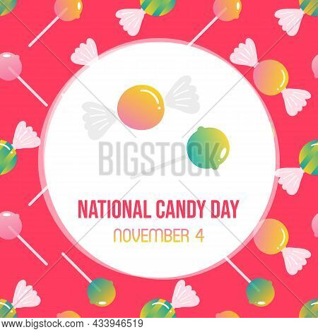 National Candy Day Greeting Card, Illustration With Cute Cartoon Style Candy, Lollipop And Colorful