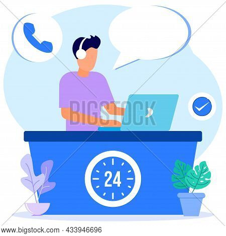 Modern Style Vector Illustration Of A Hotline Operator Consulting Customers With A Headset On A Comp