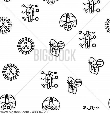 Bacteria Infection Vector Seamless Pattern Thin Line Illustration