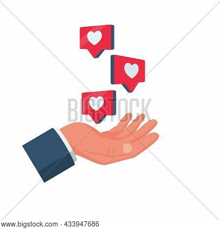 Like Icon. Likes On Red Pins. Web Icon Social Media Concept. Human Hand Hold A Heart. Vector Illustr