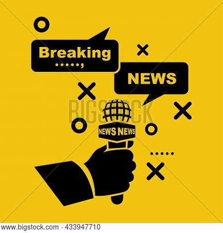 Breaking News Template. Journalist In Hand Holding Microphone. Template Live News. Concept Interview
