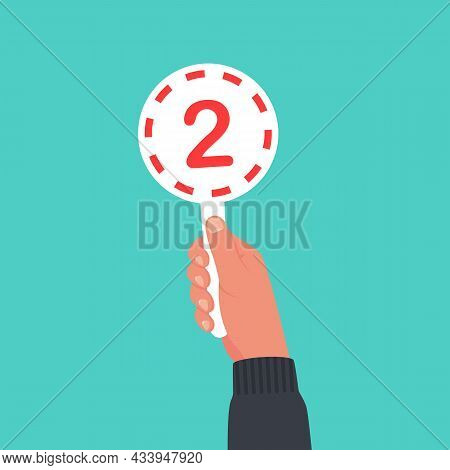 Score Card 2. Number Table. Digit Rating On A Scorecard. Human Hand Holding Score Card. Colored Scor