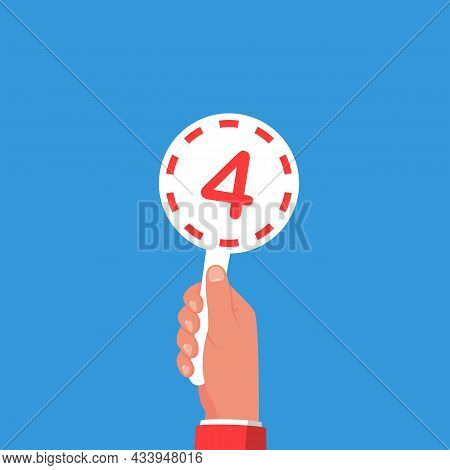 Score Card 4. Number Table. Digit Rating On A Scorecard. Human Hand Holding Score Card. Colored Scor