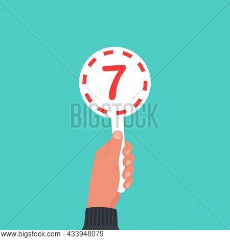 Score Card 7. Number Table. Digit Rating On A Scorecard. Human Hand Holding Score Card. Colored Scor
