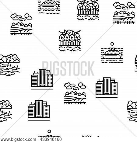 Land Scape Nature Vector Seamless Pattern Thin Line Illustration