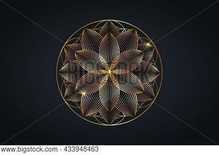 Flower Of Life, Gold Spiritual Mandala, Sacred Geometry. Bright Golden Lotus Symbol Of Harmony And B