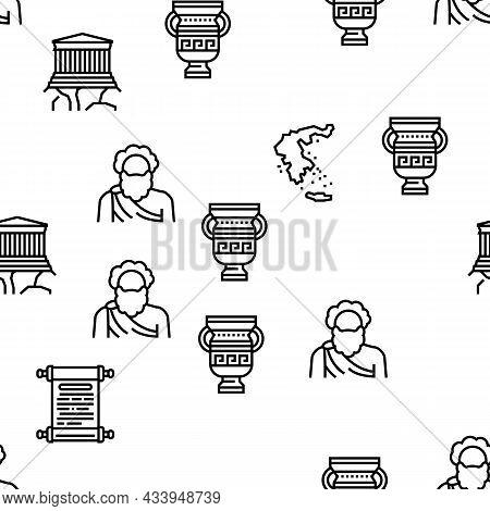 Ancient Greece Mythology History Vector Seamless Pattern Thin Line Illustration