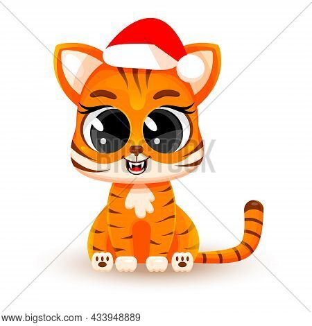 Cute Cartoon Baby Tiger Wearing A Santa Claus Hat. Vector Illustration Isolated On White Background.