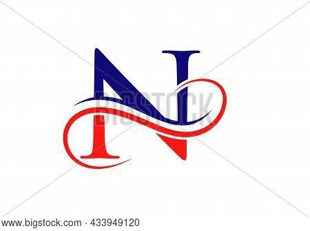 Letter N Modern Logo Design Template. N Logo With Creative Curved Vector Illustration.