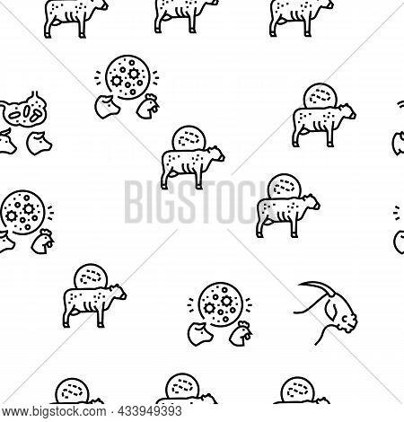 Pet Disease Ill Health Problem Vector Seamless Pattern Thin Line Illustration
