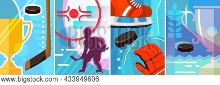 Collection Of Hockey Posters. Different Sport Placard Designs.
