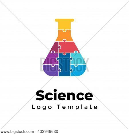 Puzzle Vector Test Tube Logo Template. Abstract Chemistry Sign. Scientific Experiment Symbol. Medica