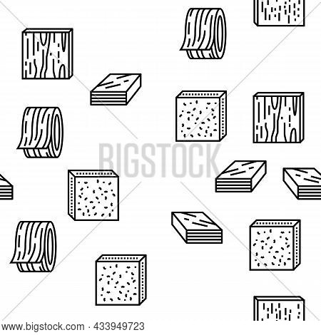 Timber Wood Industrial Production Vector Seamless Pattern Thin Line Illustration