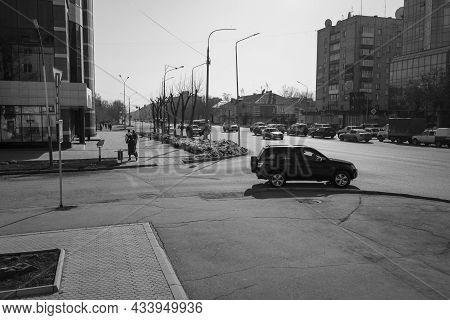 Kazakhstan, Ust-kamenogorsk, April 1, 2021: Traffic. One Of The City Streets. Downtown. Street Traff