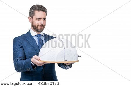 Business Service. Serving Success. Successful Man With Dinner Dome Tray. Formal Male Waiter.