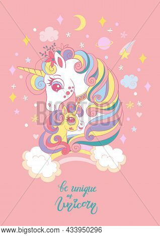 Cute Cartoon Mom And Baby Unicorns. Vector Vertical Llustration Isolated On Pink. Birthday, Party Co