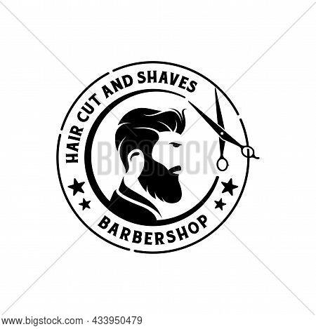 Vintage Retro Barbershop Badge Logo. Stamp Or Seal Sticker Design Template