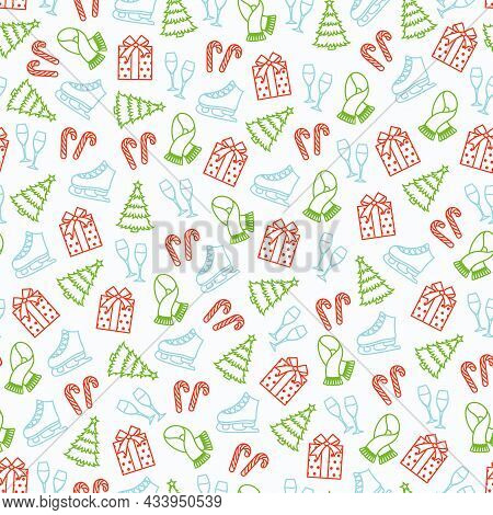 Christmas Seamless Pattern With Colorful Outline Objects - Christmas Tree, Gift, Scarf, Skates, Cand