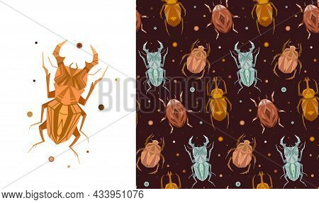 Set Of Card And Seamless Pattern With Geometric Insects And Polka Dot On Brown Background. Vector St