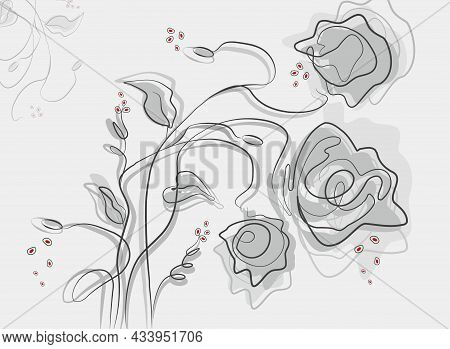 Modern Drawing Of Abstract Flower, Leave. Artistic Bold Shape In The Style Of One Line. Hand-drawn F