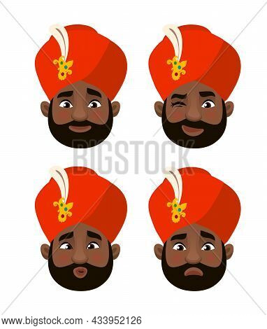 The Head Of A Man In An Turban. Different Emotions. Colored Illustration In A Flat Style.
