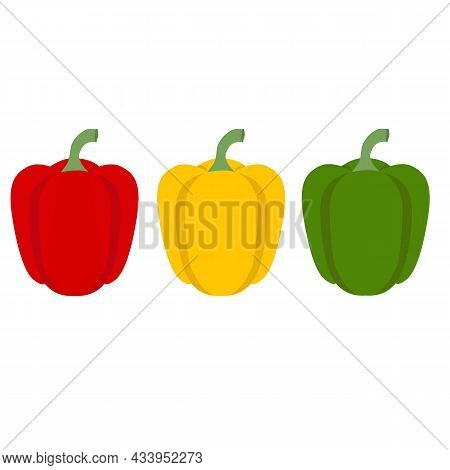 Set Of Three Peppers On White Background. Red, Yellow, Green Pepper Sign. Set Of Pepper Logo. Pepper