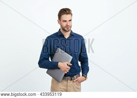 Concept Of Agile Business. Unshaven Man Working Online. Modern Wireless Laptop. Programmer Use Pc