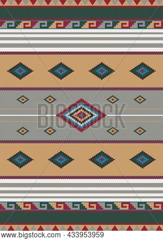 Ethnic Mexican Geometric Ornament. Vector Seamless Native Tribal Pattern. Boho Style. Aztec, Navajo
