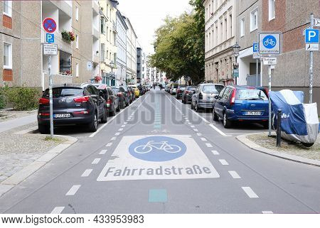 Berlin, Germany, September 2021, Bicycle Street With Parked Cars In The District Mitte Berlin, Germa