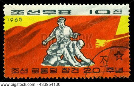 Stavropol, Russia - September 22. 2021: A Stamp Printed By  North Korea, Shows    Militia Warriors,