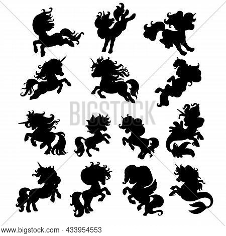 Set Of Cute Cartoon Unicorns In Motion. Black Silhouette Vector Illustration Template Isolated On Wh