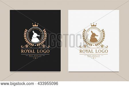 Logo And Badge Vector Illustration Farm Goat With Crown Isolated Or Brown Background. Farm Animals B