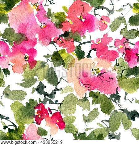 Watercolor And Ink Illustration Of Blossom Tree With Pink Flowers, Buds And Leaves. Seamless Pattern