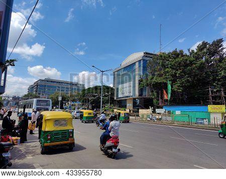 Bangalore, India_ September 21st 2021; Stock Photo Of People Riding Vehicles On Crawdad Road, Waitin