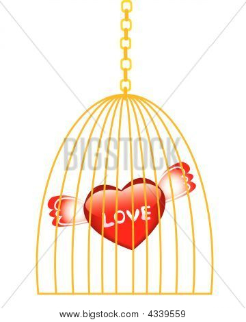 Love In Golden Cage Isolated On White