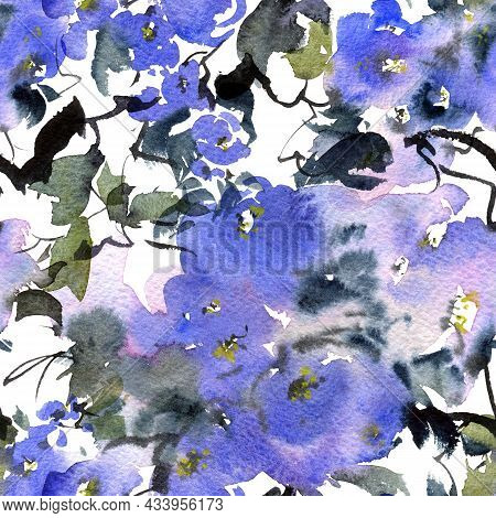 Watercolor And Ink Illustration Of Blossom Tree With Blue Flowers, Buds And Leaves. Oriental Traditi