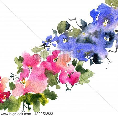 Watercolor And Ink Illustration Of Blossom Tree With Blue And Pink Flowers, Buds And Leaves. Orienta