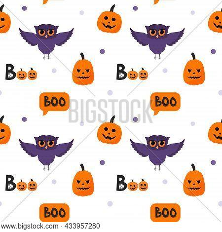 Halloween Seamless Pattern With An Owl, A Pumpkin, The Inscription Boo. Flat Cartoon Elements On A W